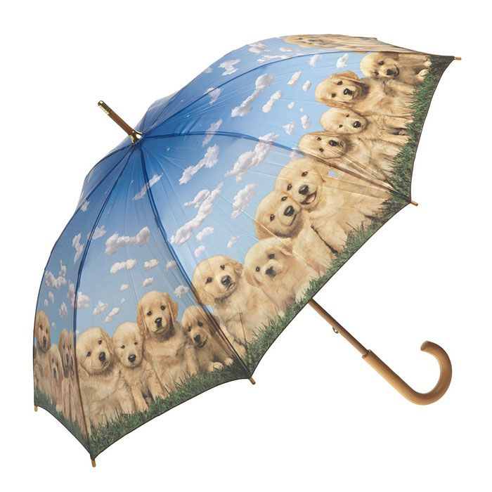 Clifton Artbrellas Long Walking Golden Pups - Great for Dog Lovers. Classic wooden handle and tips. Lightweight construction and beautifully printed.