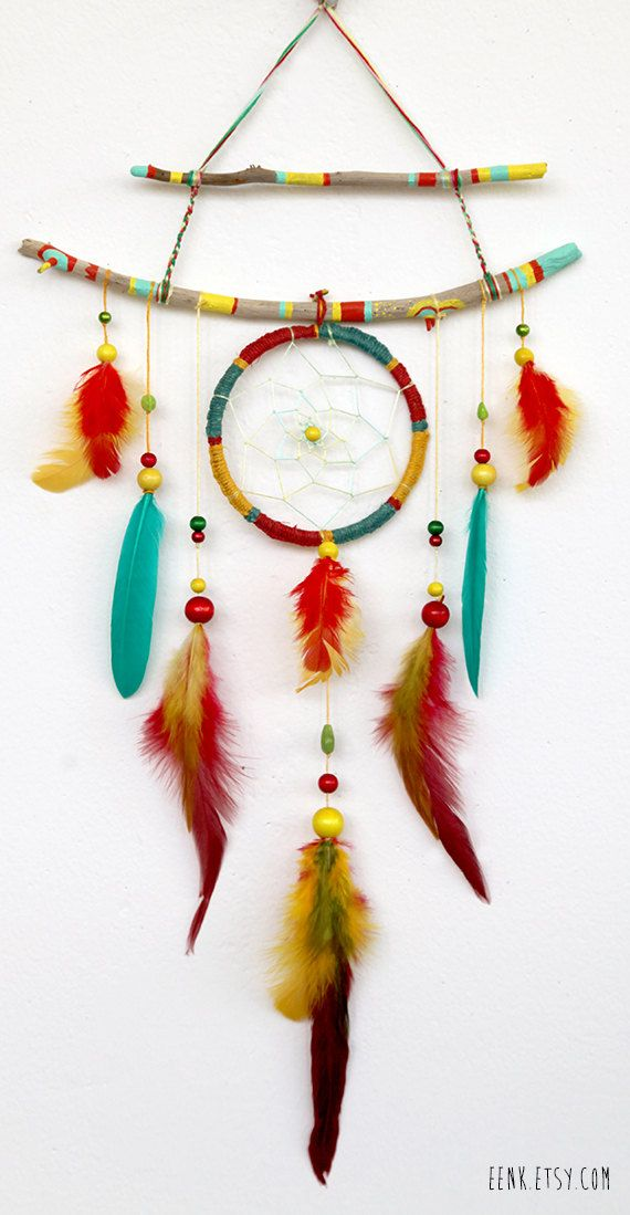 The Shaman's Journey- A Native Rasta Dreamcatcher Feather Mobile. $89.00, via Etsy.