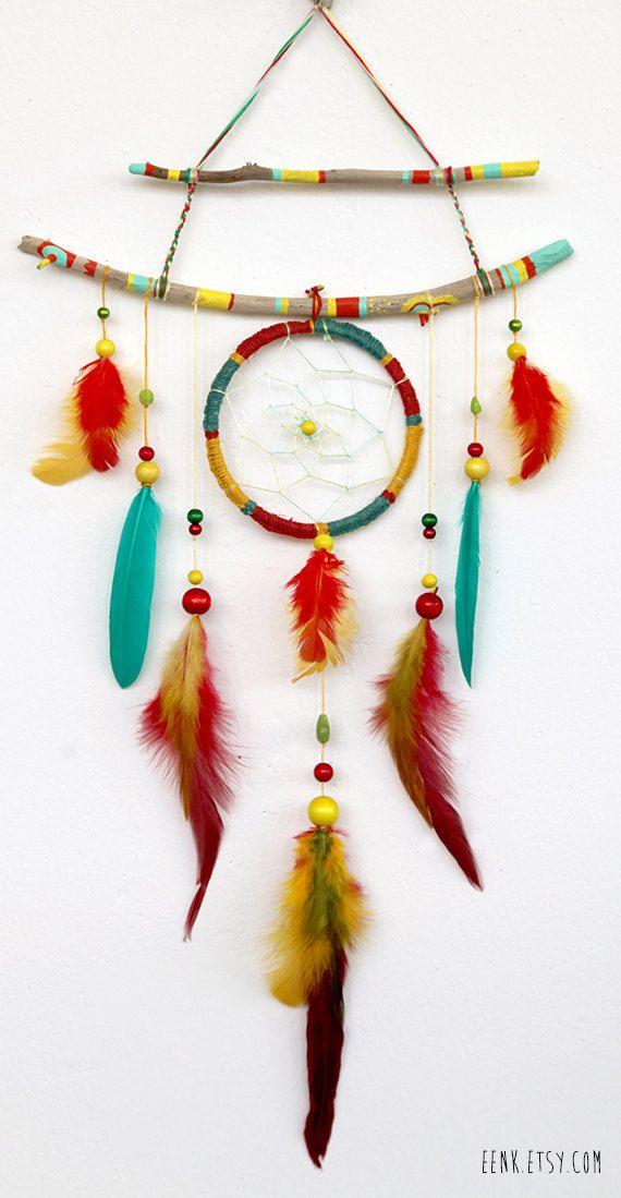 The Shaman's Journey- A Native Rasta Dreamcatcher Feather Mobile. $89.00, via Etsy.