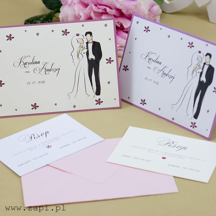 Romantyczne zaproszenia ślubne z grafiką Pary Młodej i aplikacjami