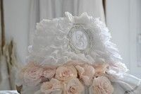 Abat jour froufrou volant broderie anglaise shabby chic romantique ruffle lamp shade