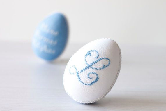 Personalized Easter egg handmade linen with cross by RedPin