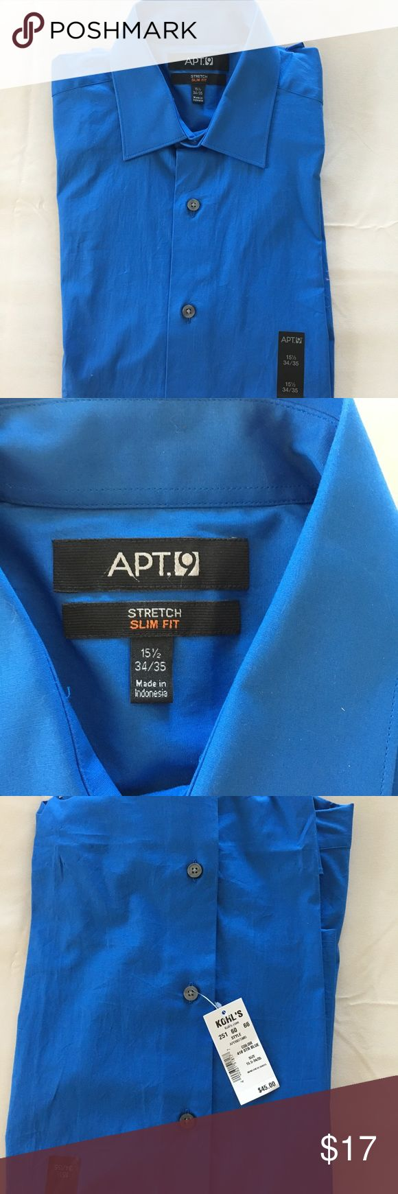 Men's Apt 9 NWT Stretch Slim Fit Dress Shirt Gorgeous royal blue color. Stretch slim fit. Collar 15 1/2, 34/35 arms. Apt. 9 Shirts Dress Shirts