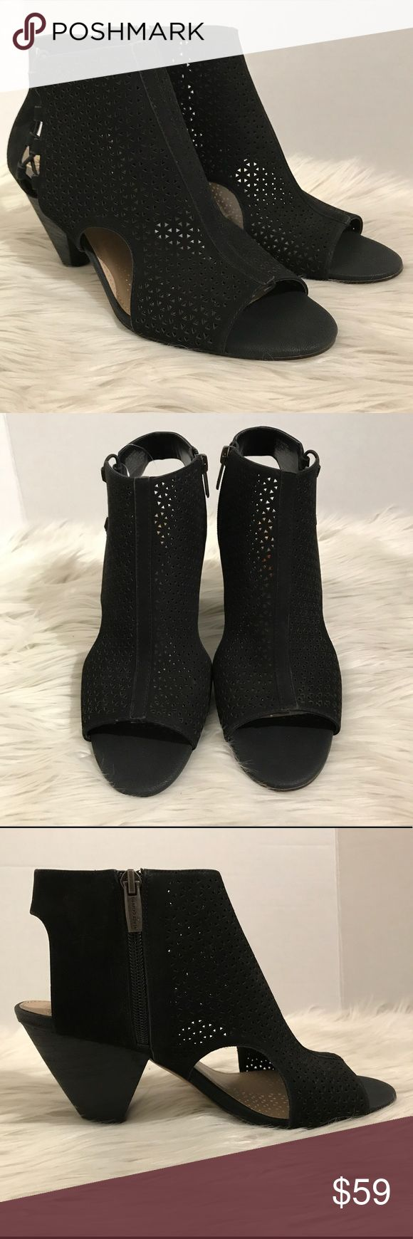 "Vince Camuto Black Enissa Booties 9.5 •       peep toe 	•	cut-out, perforated design detail 	•	cone heel (3.5"") 	•	zip closure 	•	leather upper Vince Camuto Shoes Ankle Boots & Booties"