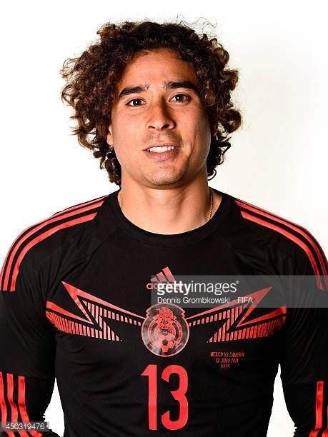 Guillermo Ochoa of Mexico poses during the Official FIFA World Cup 2014 portrait session on June 8 2014 in Santos Brazil
