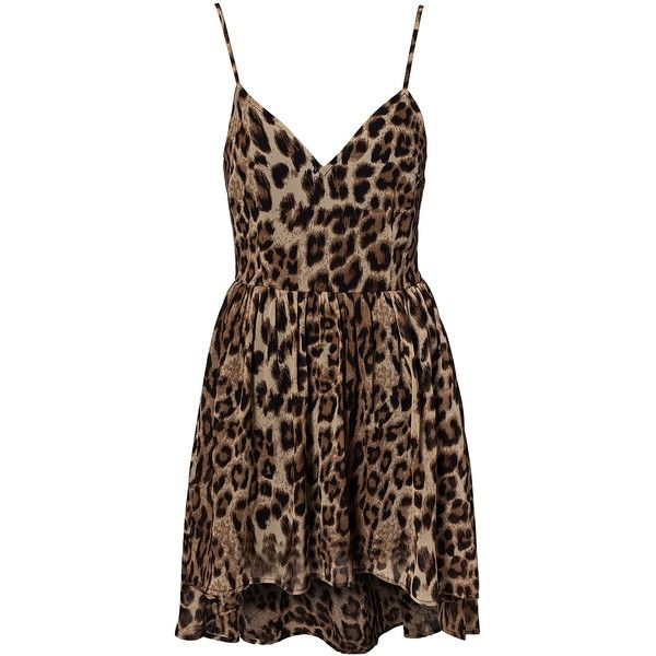Nly Trend Leopard High Low Dress ($43) ❤ liked on Polyvore featuring dresses, vestidos, short dresses, leopard, party dresses, womens-fashion, short front long back dress, v neck dress, short brown dress and tall dresses