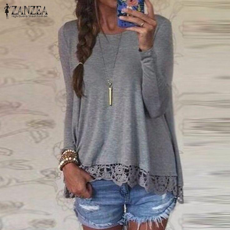 2016春zanzea女性blusasカジュアル緩いエレガントなtシャツ長袖シャツレースかぎ針編み刺繍裾女性トップスプラスサイズ