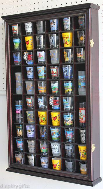 56 Shot Glass Display Case Holder Cabinet Rack, Glass door -CHERRY SC56-CH
