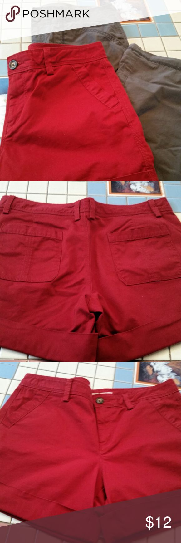 Old Navy Shorts & Cargo Pants Bundle Red shorts in brushed cotton (very nice quality) with side and back pockets. Worn only a few times, so still in very good condition. Cargo pants with lots of pockets, low rise, with tabs to roll up legs and make capris/shorts. Pants are gently worn, no holes or tears, still in good condition. Both are size 10 by Old Navy. Bundle price includes both! Comes from nonsmoking home, and I ship quickly! ;-) Old Navy Pants