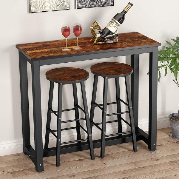 3 Piece Pub Table Set Counter Height Dining Table Set With 2 Bar