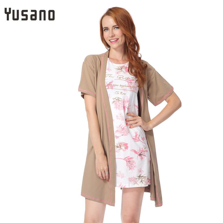 Yusano 2017 Summer Robe Women Cotton Bathrobe Solid V-neck Floral Robe Sexy Femme Plus Size Dressing Gown Vestido Branco   #Affiliate