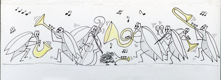 A bunch of moskitos playing jazz-music and a hedgehog playing the trompet. They often do that on the long hot summer nights. Drawing by Marlene Jørgensen.