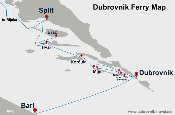 Dubrovnik Ferry Map - Dubrovnik Ferry Map shows all ferries that sails to and from Dubrovnik including ferries to Sipan, Lopud and Kolocep as well as ferries to Mljet, Korcula, Hvar, Brac and further to Rijeka http://www.dubrovnik-travel.net/travel/dubrovnik-ferry-map/