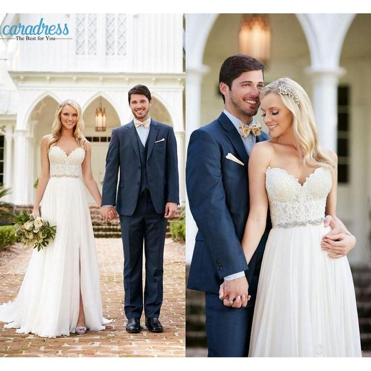 Find More Wedding Dresses Information about 2017 New Lace Sweetheart Boho Wedding Dresses Cheap Summer Beach Backless Side Split Lace Bodice Bridal Gowns with Beaded Belt,High Quality dress not,China gown house Suppliers, Cheap gown outlet from CDDRESSES Store on Aliexpress.com