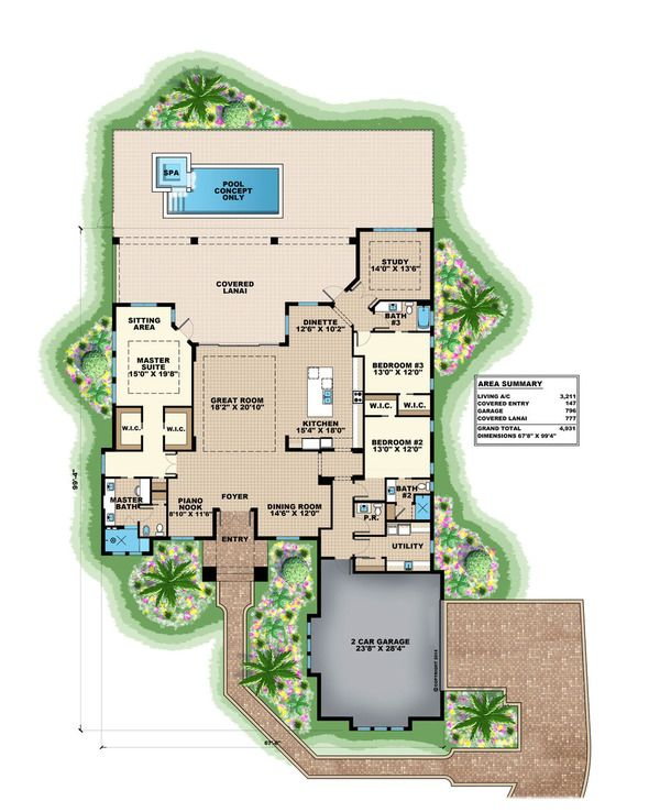 Traditional Style House Plan - 3 Beds 3.50 Baths 4931 Sq/Ft Plan #27-499 Floor Plan - Main Floor Plan - Houseplans.com
