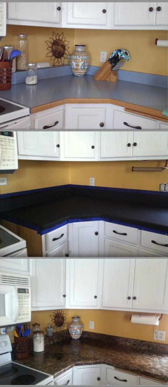Blue Kitchen Cabinets White Countertops