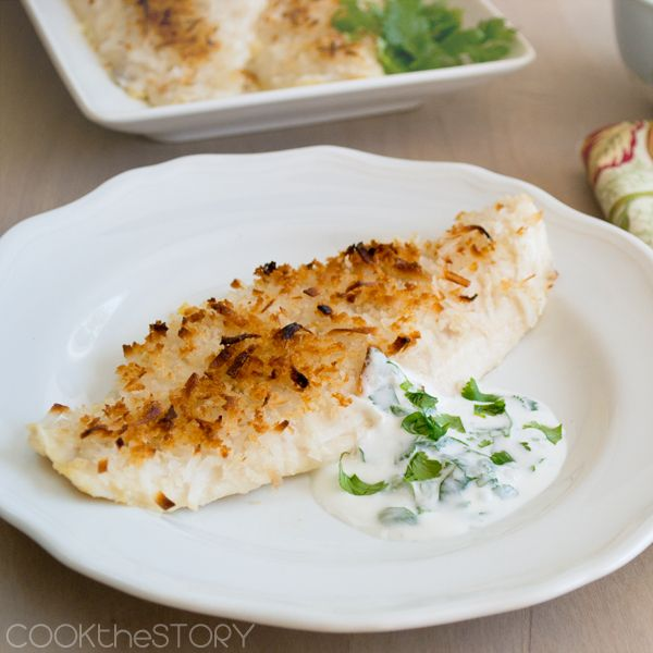 Crispy Coconut Baked Fish Fillets (Any White Fish, Greek Yogurt, Coconut Milk, Coconut, Cilantro)