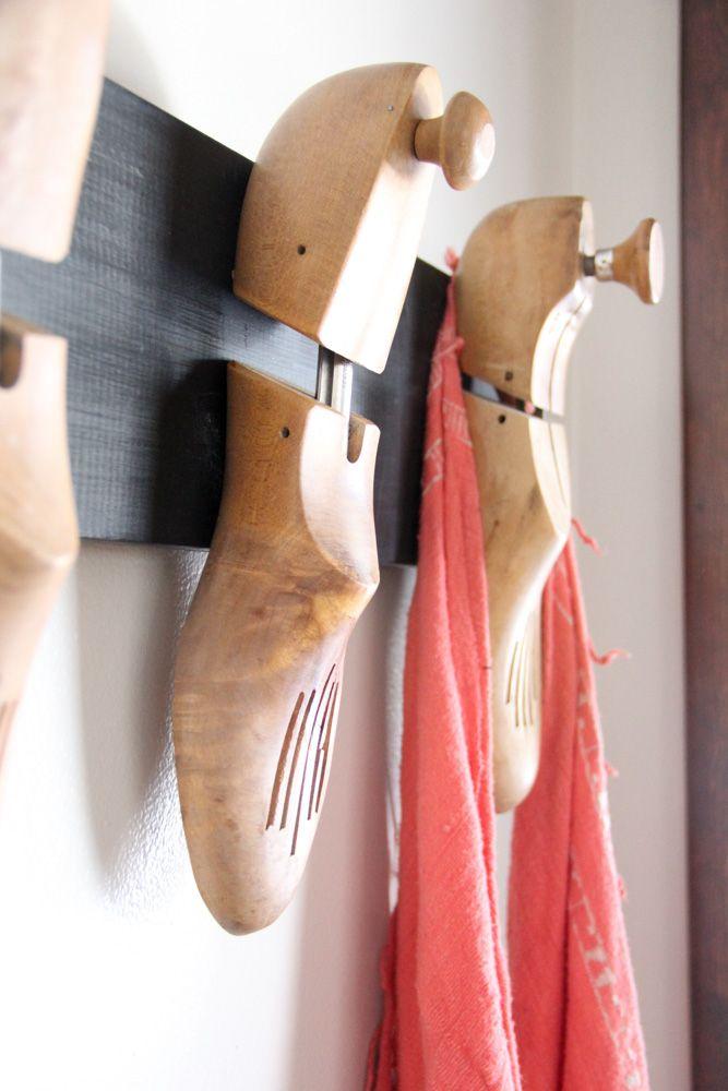 Vintage Wood Shoe Stretcher Coat Hook, Unique Coat Hook, Interesting Coat Rack, www.BrightGreenDoor.com