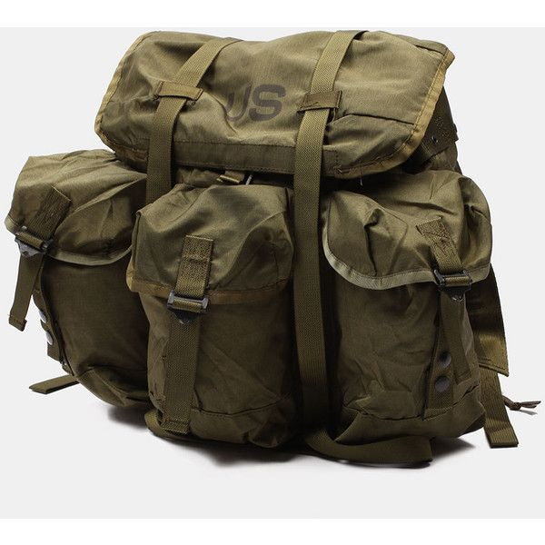 SURPLUS US ARMY ALICE PACK RUCKSACK (€69) ❤ liked on Polyvore featuring bags, backpacks, army bag, knapsack bags, brown backpack, rucksack bag and army backpack