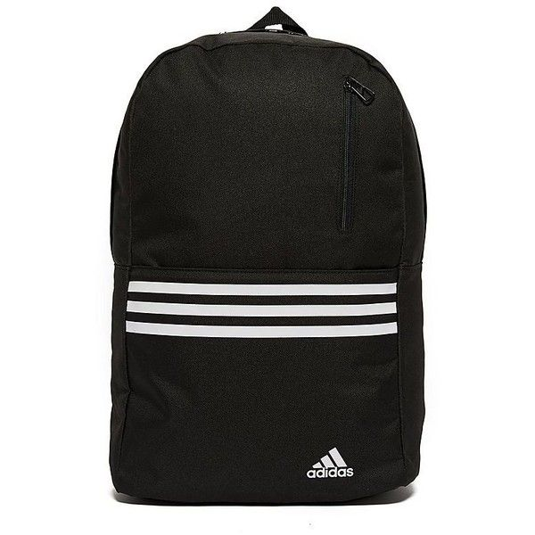 adidas Versatile 3-Stripes Backpack (£17) ❤ liked on Polyvore featuring bags, backpacks, mesh sport bag, strap bag, stripe backpack, sport backpack and mesh backpack