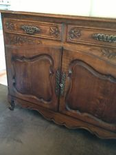 ANTIQUE FRENCH SIDEBOARD.  I think for the sideboard you need to go antique or antique looking. It might take a while to find but that's half the fun : )