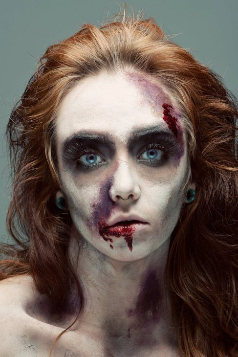 Zombie makeup....or maybe poor victim for corn maze haunting :)