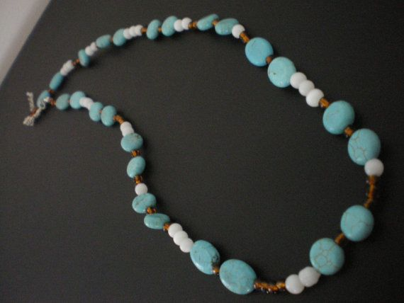Turquoise Rocks Necklace by PAVOPETALS on Etsy
