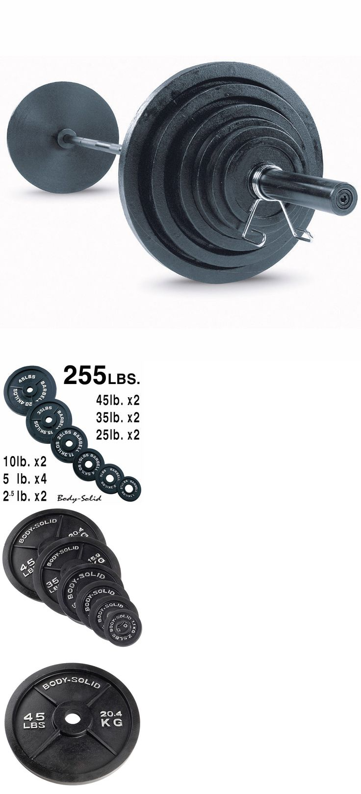 Weight Sets 179818: 300 Lb. Olympic Weight Plate Set With Bar Osb300s Body-Solid Strength Training BUY IT NOW ONLY: $409.0