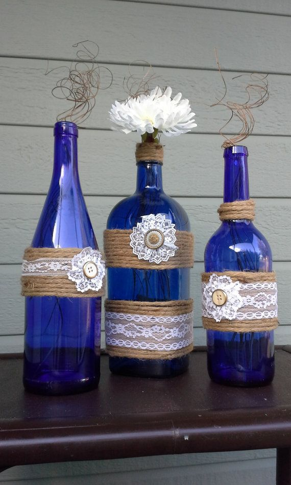 Upcycled Bottles in Cobalt Blue glass wrapped by StacysHappyPlace