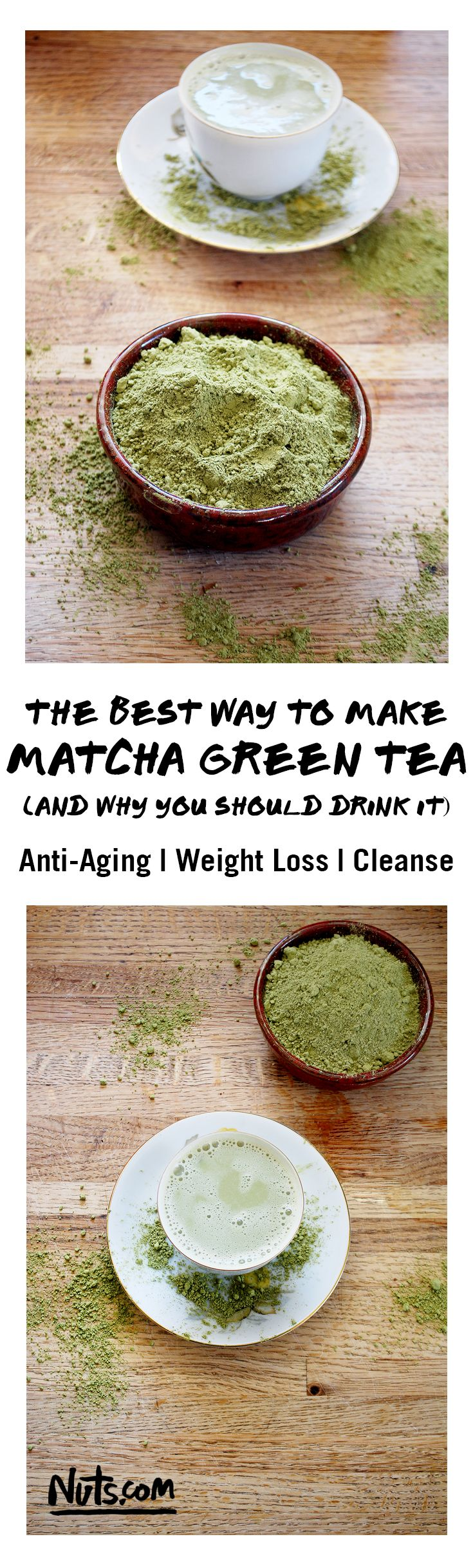 The Best Way to Make Matcha Green Tea | A traditional tea hailing from Japan, Matcha Green Tea is loaded with health benefits including weight loss and anti-aging properties. It also helps boost your metabolism and immune system so you can feel energized for your day without any crash later. You can also cook with Matcha making a ton of recipes like green tea pancakes, matcha lattes, ice cream and even cookies! Find out why you should be drinking this amazing super tea at Nuts.com!