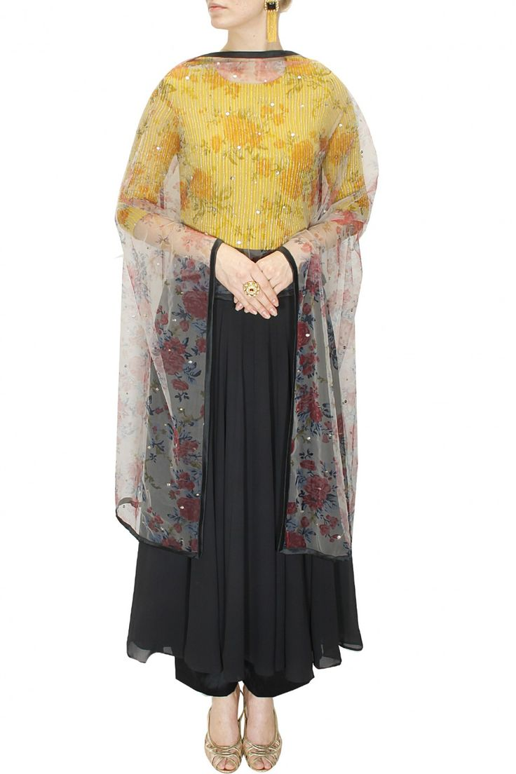 Smoked grey and yellow kasab embroidered anarkali set by Bhumika Sharma. Shop at www.perniaspopupshop.com #designer #bhumikasharma #couture #bestseller #traditional #shopnow #perniaspopupshop #happyshopping