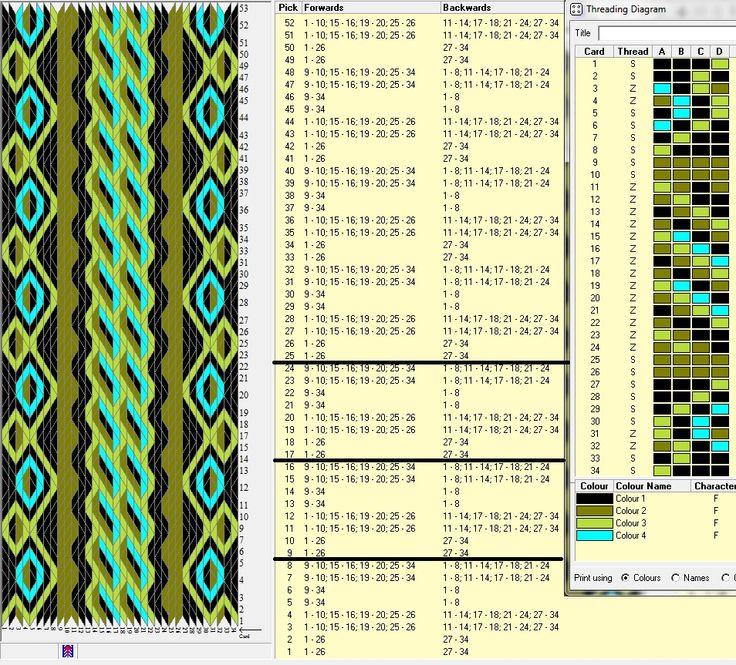 34 tarjetas, 4 colores, repite esquema cada 8 movimientos // sed_102 ༺❁