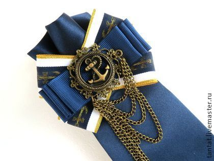 Галстук Морская тема. - синий,галстук,галстук женский,море,морские аксессуары
