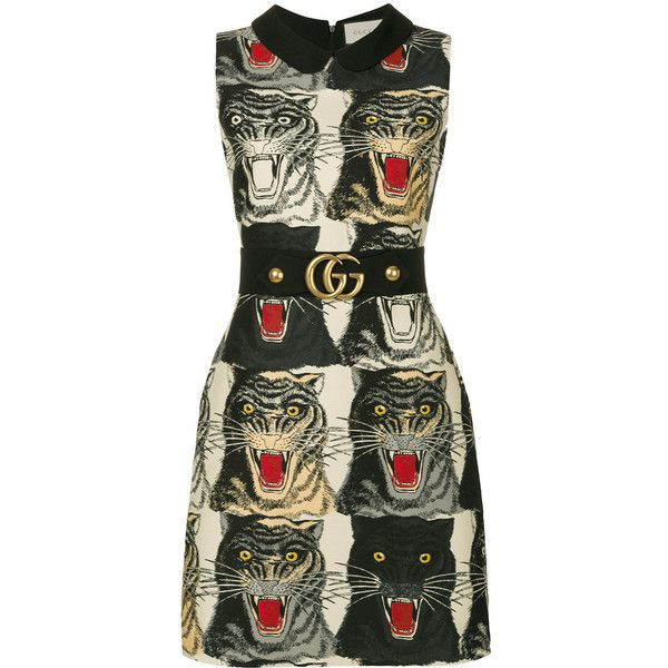 Gucci tiger print dress (290705 DZD) ❤ liked on Polyvore featuring dresses, black, sleeveless print dress, sleeveless dress, mixed print dress, back zipper dress and tiger stripe dress