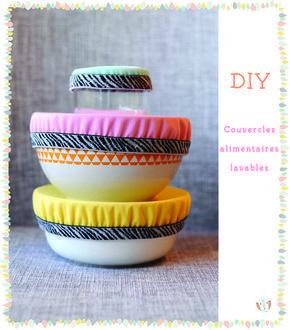 {DIY} Tuto Zéro déchet. Fabriquer soi-même des couvercles alimentaires lavables pour bols en tissu imperméable, lavables et réutilisables.