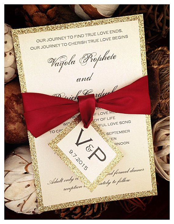 Wedding Invitation Apple Red and Gold Glitter by VPElegance