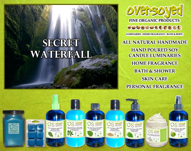Secret Waterfall (Compare To Bath & Body Works®) Product Collection - This fragrance will take you away with sweet jasmine, wild lilies and violets, with the enchanting mist of a cool tropical waterfall. #OverSoyed #SecretWaterfall #Candles #HomeFragrance #BathandBody #Beauty