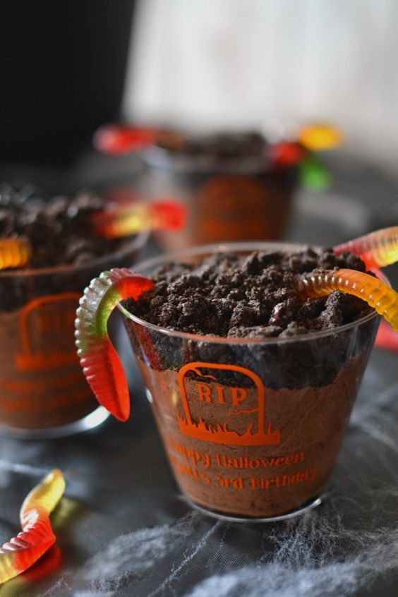 Customize your Halloween party decorations by serving your favorite spooky dessert or beverage in these disposable personalized clear plastic Halloween cups and add the finishing touches to your spooky Halloween party decor. A great option for guest souvenirs and party favors at a Halloween birthday party or costume parties fill with cute desserts like this spooky dirt pudding. To order visitCustomize your Halloween party decorations by serving your favorite spooky dessert or beverage in the