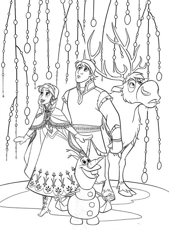 Disney's Frozen Coloring Page with Anna, Kristoff, Olaf and Sven