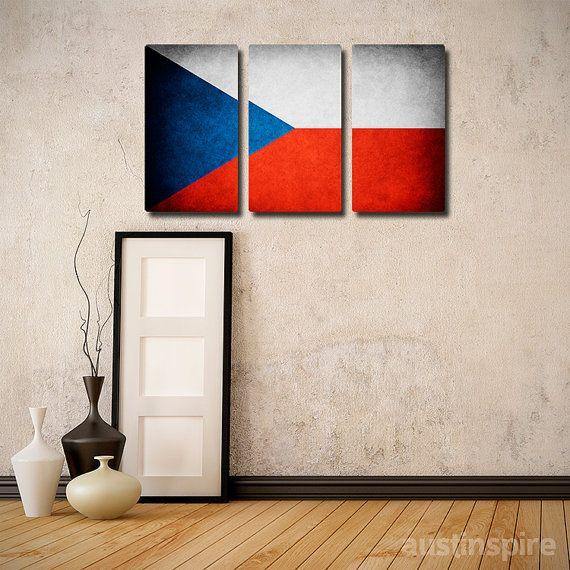 Czech Republic Flag Triptych #wallart #walldecor