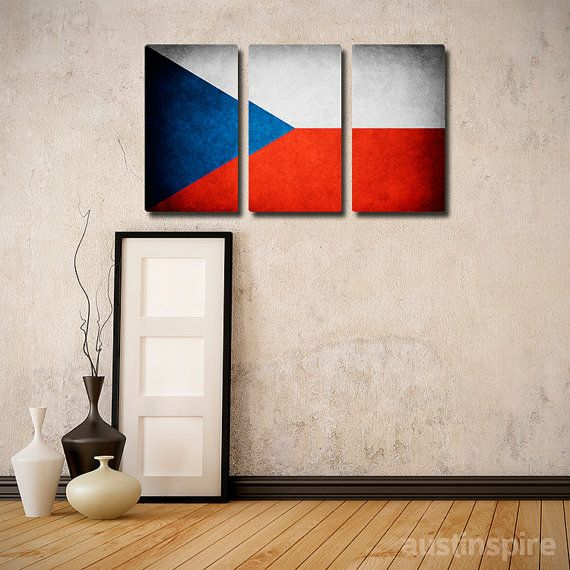 Czech Republic Flag Triptych Canvas Matte Print or by Austinspire