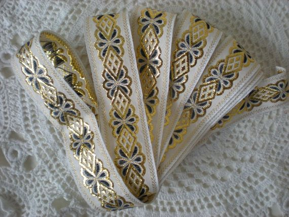 3 Yards Vintage Gold Ribbon Sewing Projects Clothing by chloeswirl, $8.00