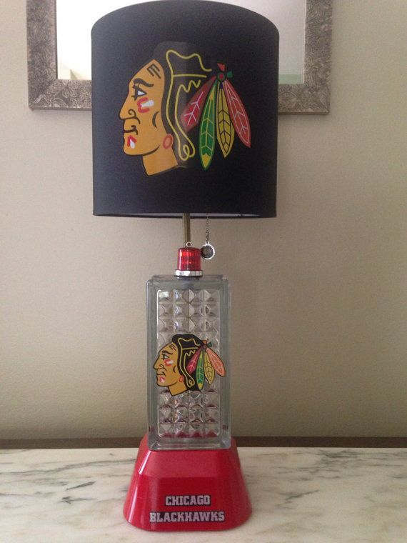 Chicago Blackhawks glass block lamp with the red lights inside block and foghorn sound  goal light