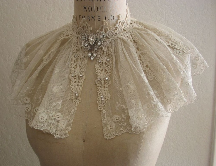 Vintage Lace Collar Capelet Wedding Dress by lacesparklevintage, $64.00
