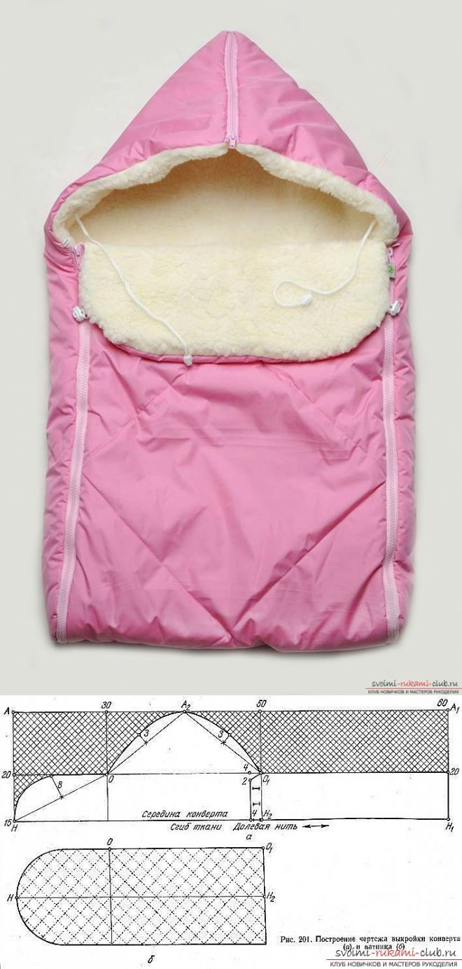 Выкройка зимнего конверта для новорожденного в домашних условиях. Простые и качественные схемы и инструкции по созданию одежды для ваших малюток