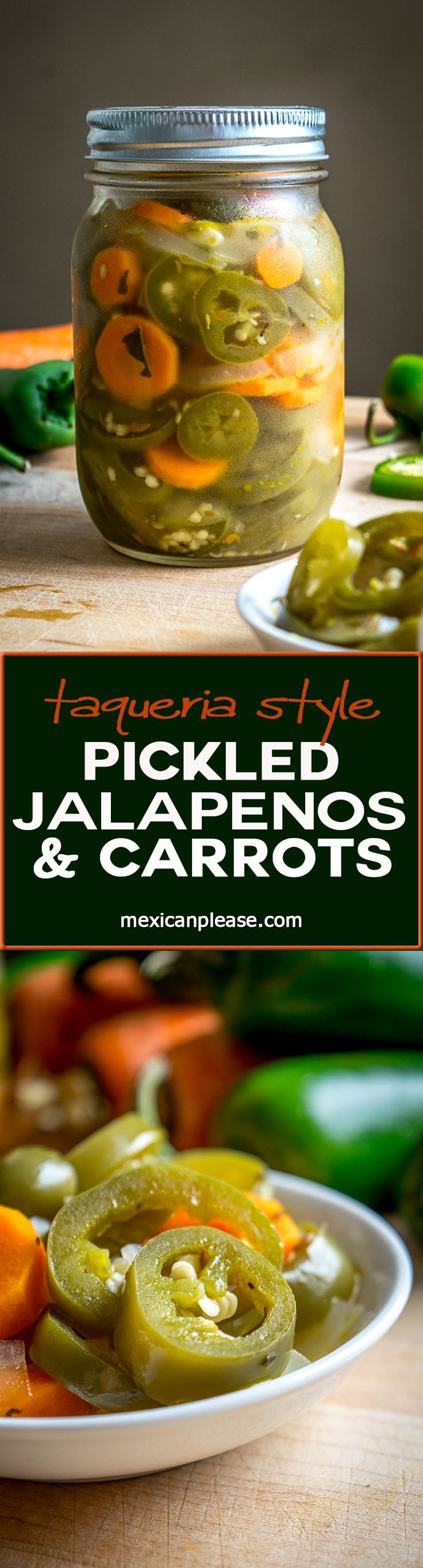 Sometimes the zip from a pickled jalapeno will create the perfectly balanced taco bite. Making a batch of these Taqueria Style Pickled Jalapeno and Carrots is super easy and lets you control how much spice you want in your life! Buen Provecho. http://mexicanplease.com