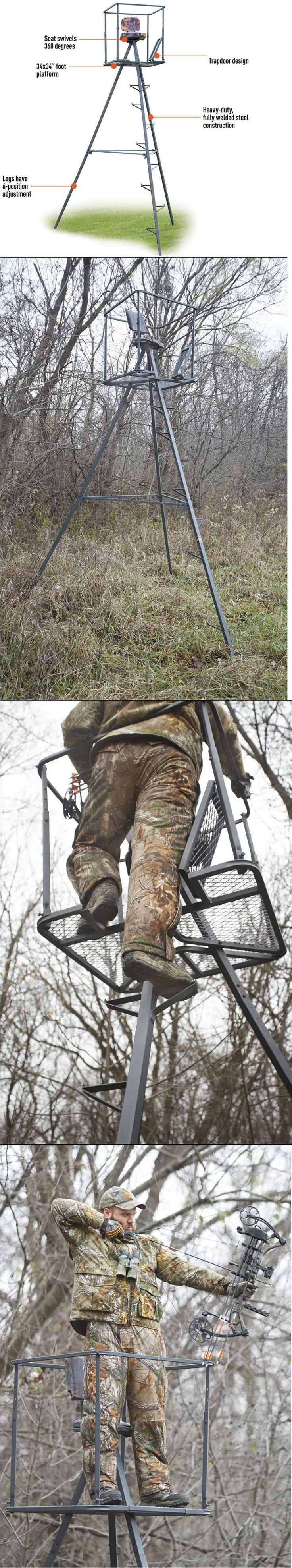 Tree Stands 52508: 13 Tripod Deer Stand Tree Blind Heavy-Duty Bow Rifle Hog Hunting Archery Tower BUY IT NOW ONLY: $218.95