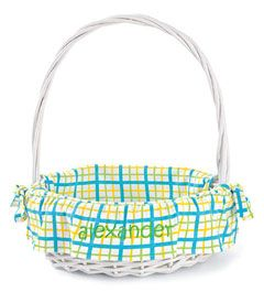 """easter basket & personalized plaid liner - Can't hit the bunny trail empty-handed. Every kid needs this generous wicker basket, which has his or her name embroidered on the liner (maximum 10 characters). Basket is 12""""."""