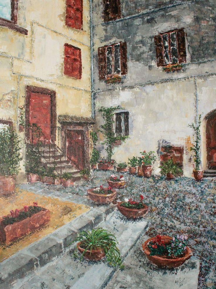 Trabajo en acrílico y espátula detallista - Patio de pueblo en Roma. Work in acrylic and spatule detailed - Village patio in Rome. HMZEN'14