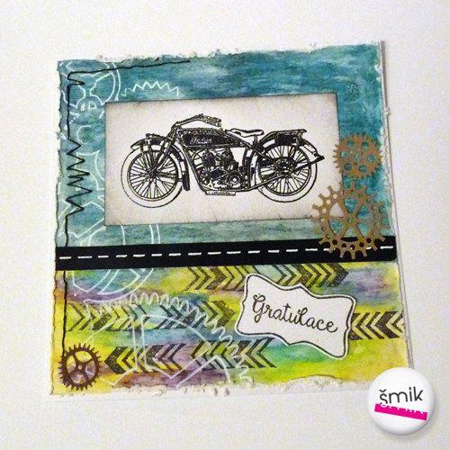 Tyrkysová gratulace s motorkou